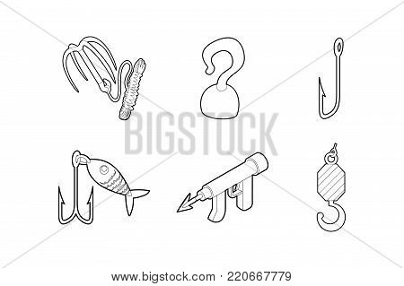 Hook icon set. Outline set of hook vector icons for web design isolated on white background