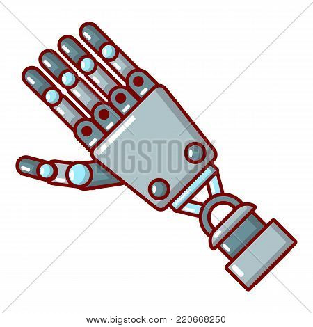 Robot arm icon. Cartoon illustration of robot arm vector icon for web.