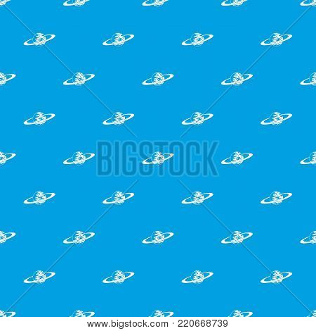 Saturn pattern repeat seamless in blue color for any design. Vector geometric illustration