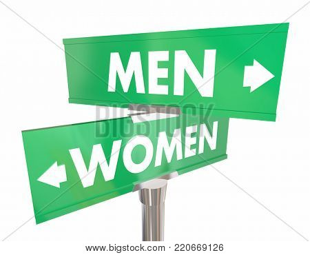 Men Vs Women Two Road Signs Intersection Male Female 3d Illustration