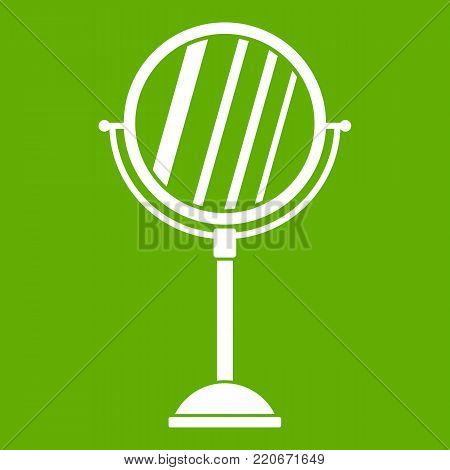 Makeup mirror icon white isolated on green background. Vector illustration