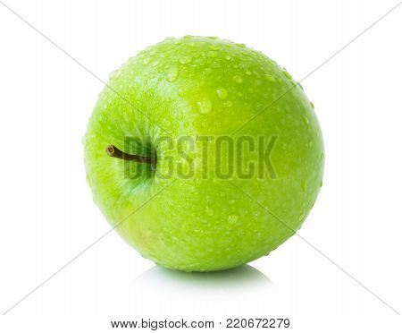 Green fresh apples fruit with water drop isolated on white background , healthy diet food concept