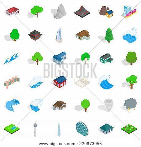 Landscape icons set. Isometric style of 36 landscape vector icons for web isolated on white background