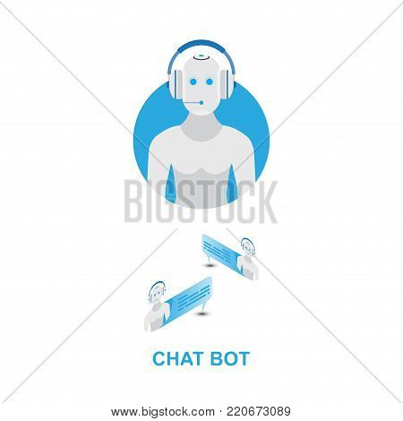 Chat bot icon for social networking. Flat vector illustration EPS 10.