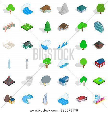 Miami landscape icons set. Isometric style of 36 miami landscape vector icons for web isolated on white background