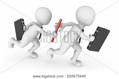 3d business people with baton. Teamwork concept.