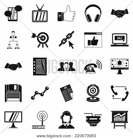 Remote transmission icons set. Simple set of 25 remote transmission vector icons for web isolated on white background