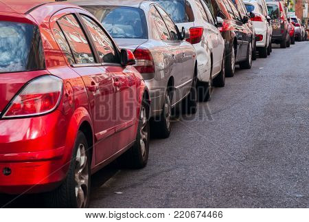traffic jam with row of cars on expressway during rush hour in Madrid