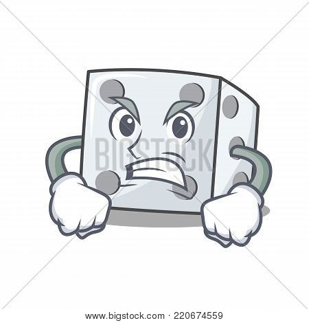 Angry dice character cartoon style vector illustration