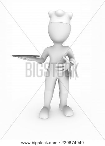 3d chef with metal tray in hands