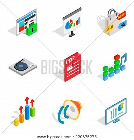 Design project icons set. Isometric set of 9 design project vector icons for web isolated on white background