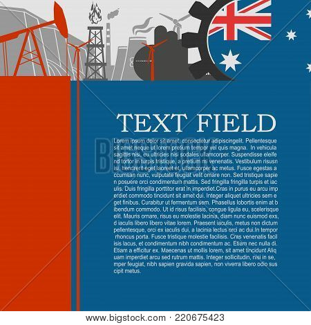 Energy and Power icons set. Sustainable energy generation and heavy industry. Field for text. Modern brochure, report or leaflet design template. Flag of Australia in gear