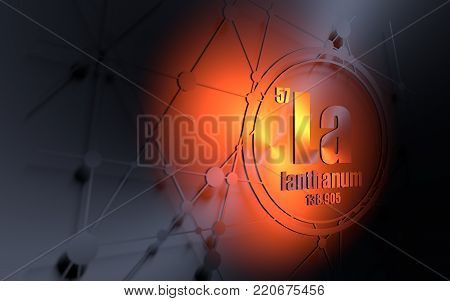 Lanthanum chemical element. Sign with atomic number and atomic weight. Chemical element of periodic table. Molecule and communication background. Connected lines with dots. 3D rendering