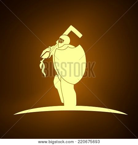 An illustration of ice hockey goalie with knight shield. Sport equipment or club emblem. Neon bulb illumination. 3D rendering