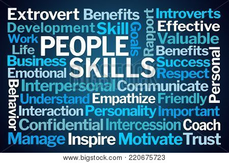 People Skills Word Cloud on Blue Background