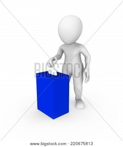 3d white man and blue vote box