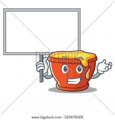Bring board honey character cartoon style vector illustration