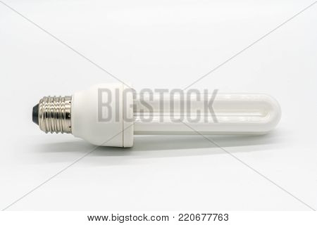 White fluorescent lamp isolated on white background