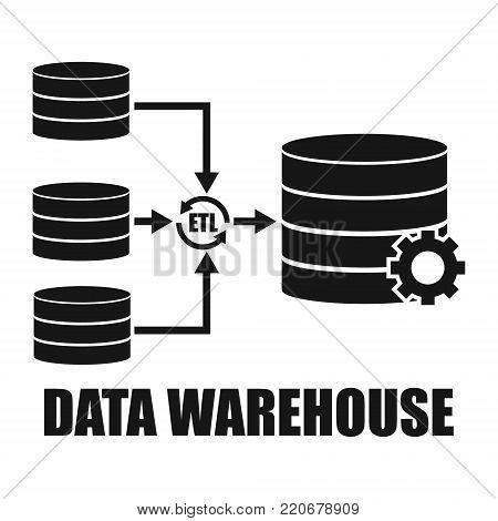 Data Warehouse architecture environment design. Vector illustration technology solution tend concept design.
