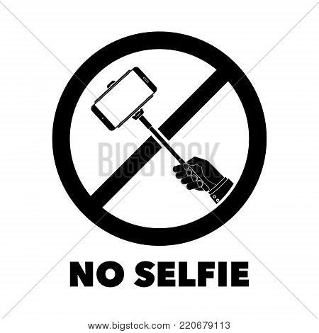 No selfie sticks prohibit sign with No selfie word. Vector illustration isolated prohibit sign on white background.