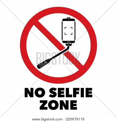 No selfie sticks prohibit sign with No selfie zone word. Vector illustration isolated prohibit sign on white background.