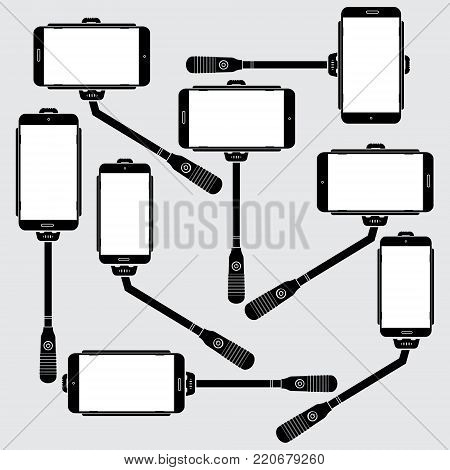 Set of Selfie stick with mobile on background. Monopod Selfie shots concept vector illustration.