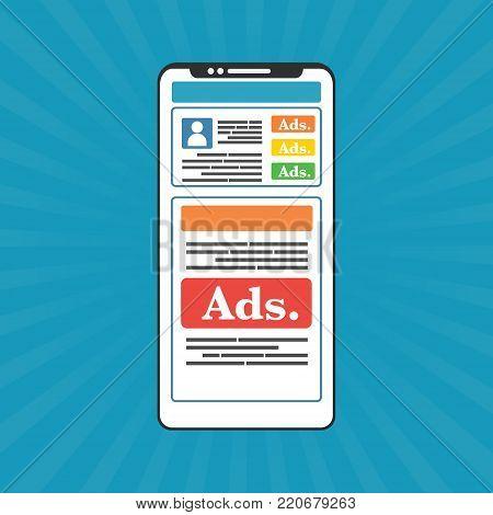 Smartphone mobile with social media advertising website. Vector illustration social ads digital marketing concept.