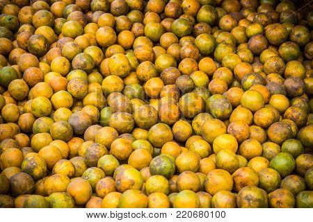 Fresh oranges selling in local Asian market
