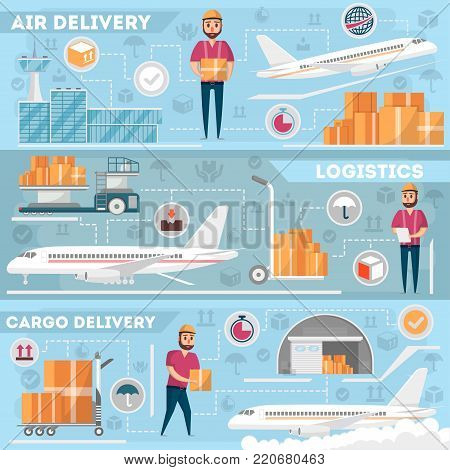 Airport logistics and delivery management set. Commercial worldwide shipping, freight transportation, global air postal. Cargo plane, airline terminal, warehouse, forklift truck vector illustration