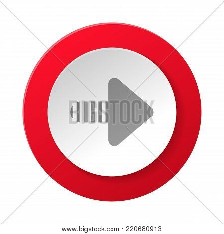 Creative web pictogram with arrow sign. Interface navigation element for web design or mobile application isolated on white background vector illustration.