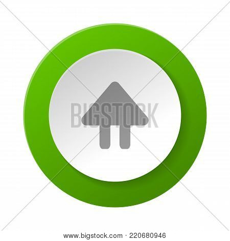 Circle shape web pictogram with up arrow sign. Interface navigation element for web design or mobile application isolated on white background vector illustration.