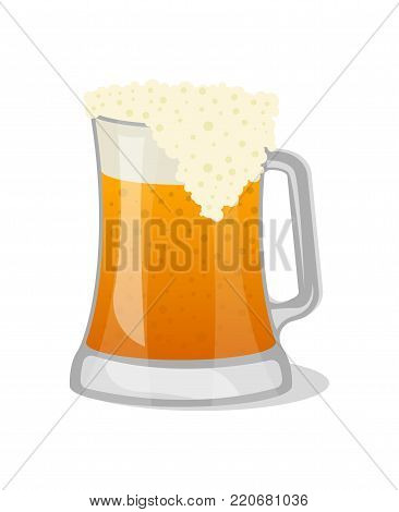 Tankard of beer isolated icon in cartoon style. Brewery, alcohol drink, ale symbol, bar or pub menu design element vector illustration.