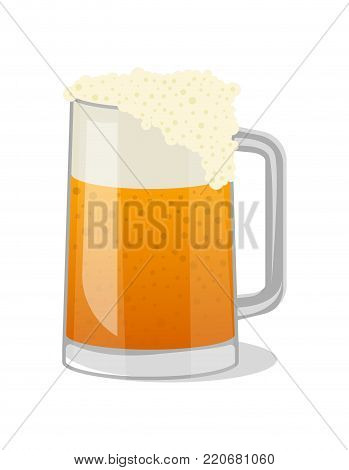 Fresh beer in glass tankard isolated icon in cartoon style. Brewery, alcohol drink, ale symbol, bar or pub menu design element vector illustration.