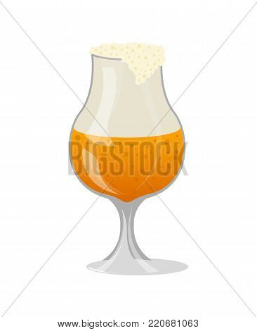 Glass of craft beer with foam isolated icon in cartoon style. Brewery, alcohol drink, ale symbol, bar or pub menu design element vector illustration.