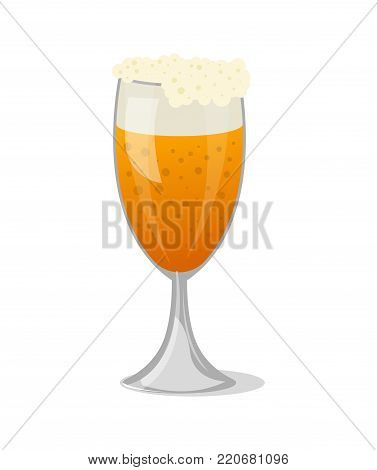 Beer mug with foam isolated icon in cartoon style. Brewery, alcohol drink, ale symbol, bar or pub menu design element vector illustration.