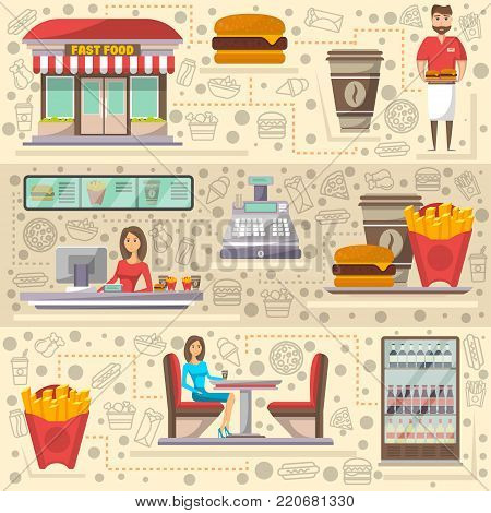 Street fast food cafe elements set. Restaurant takeaway menu with coffee cup, french fries, burger. Shop counter with cashier, showcase refrigerator, shop facade, waiter with food vector illustration