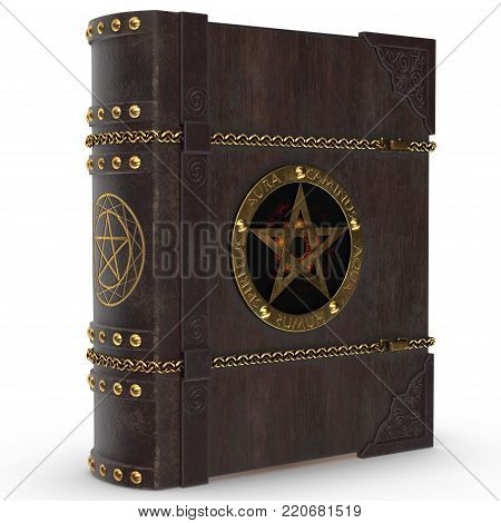 An old magical book in leather and wooden binding and golden trimming. The book of the devil and Satan with the golden star. The image is a 3D model renderer.