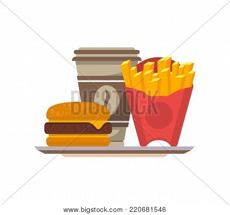 Street food menu with burger, french fries and coffee cup isolated vector illustration. American fast food, restaurant takeaway menu element.