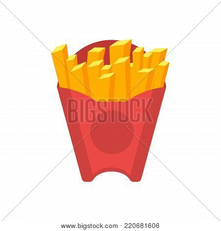 French fries in red paper box isolated on white background vector illustration. American fast food, restaurant takeaway menu element.