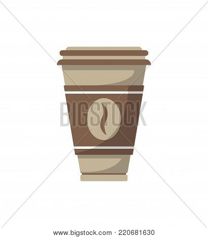 Paper coffee cup isolated vector illustration. Street fast food icon, restaurant takeaway menu element.