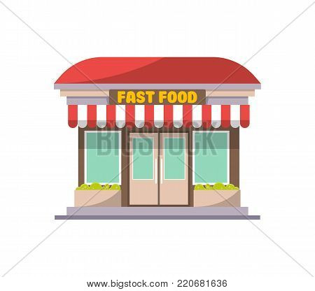 Fast food shop building facade icon in flat style. Street fast food cafe, city takeaway restaurant vector illustration.