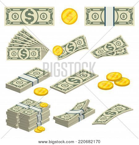 Money icons set in cartoon style. Packing in bundles of banknotes, pile of cash, paper money, gold coins, money fan concept. Financial and banking isolated on white background vector illustration.