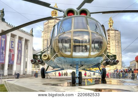 MOSCOW, RUSSIA - January 04.2018: Combat landing helicopter MI-8T at VDNh