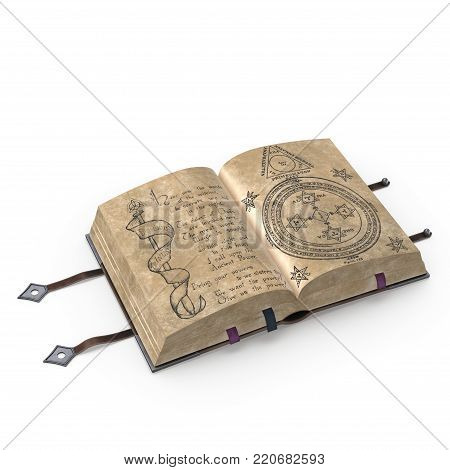 An ancient open book in leather binding. This image is a 3D model rendering.