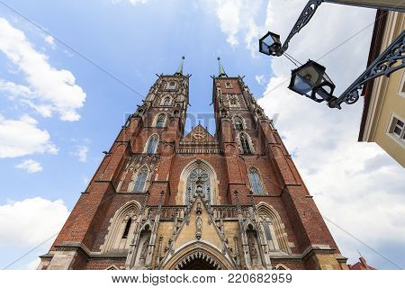 Wroclaw Cathedral (Cathedral of St. John the Baptist), gothic style church on Ostrow Tumski Island, Wroclaw, Poland. It  is the seat of the Roman Catholic Archdiocese of Wroclaw