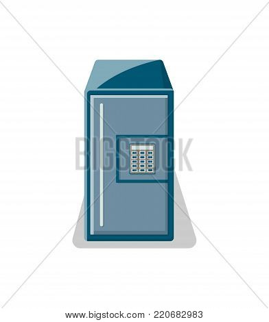 Safe box with electronic combination lock icon. Money storage, financial safety, cash security, bank deposit box isolated on white background vector illustration.