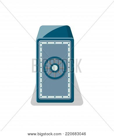 Mechanical strongbox icon in flat style. Money storage, financial safety, cash security, bank deposit box isolated on white background vector illustration.