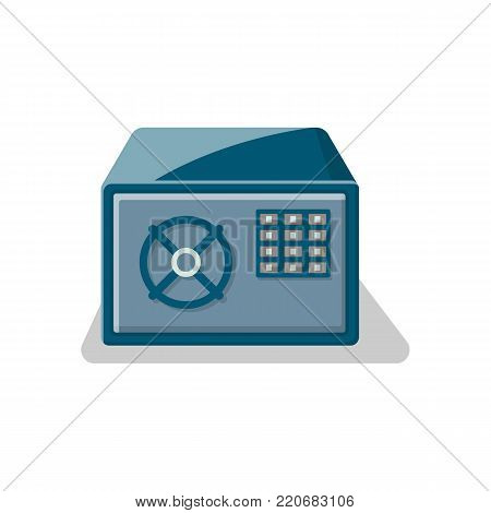 Armored safe box with electronic combination lock icon. Money storage, financial safety, cash security, bank deposit box isolated on white background vector illustration.