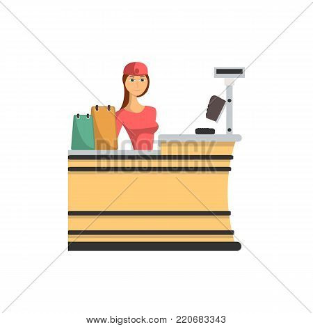 Supermarket checkout counter with cashier icon in flat style. Shopping in supermarket, retail and distribution vector illustration.