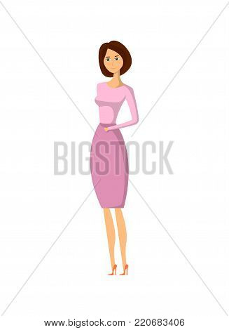 Elegant fashion girl in purple dress vector illustration isolated on white background. Pretty young woman, glamour model